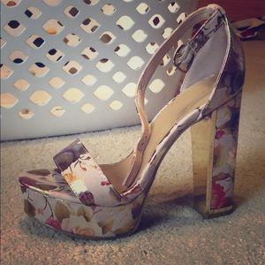 Worn once - foiled floral platform sandal heels